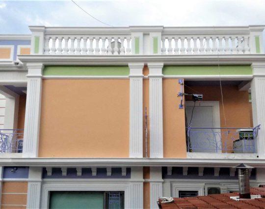 Λείανση επιφάνειας, Ειδική εξωτερική βαφή σε νέο κλασικό κτίριο